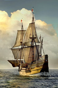 Replica of the Mayflower, the sailing ship that brought the Pilgrims to America in 1620